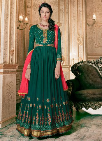 Green and Gold Embroidered Anarkali