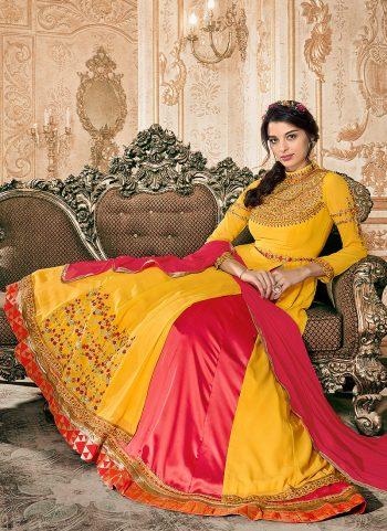 Yellow and Pink Embroidered Lehenga Anarkali