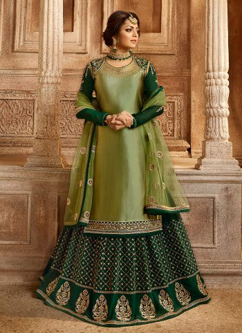 Green and Gold Embroidered Lehenga/ Straight Suit