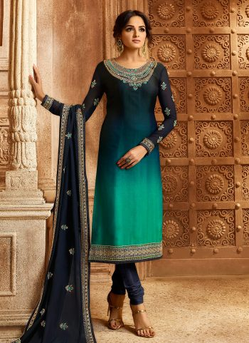 Blue and Gold Embroidered Lehenga/ Straight Suit