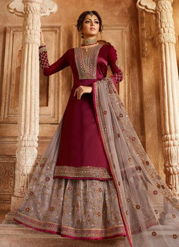 Maroon and Grey Embroidered Lehenga/ Straight Suit