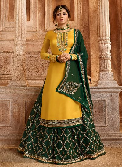 Yellow and Green Embroidered Lehenga/ Straight Suit