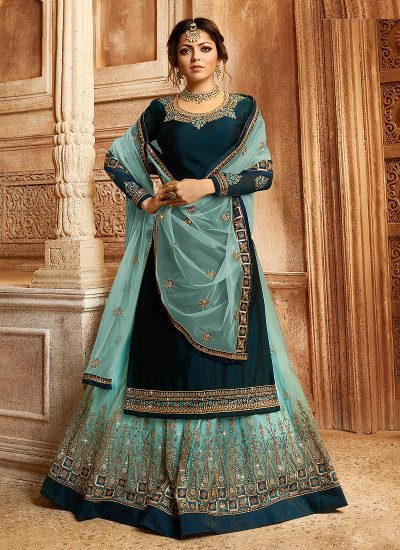 Teal and Gold Embroidered Lehenga/ Straight Suit