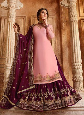 Light Pink and Purple Embroidered Lehenga/ Straight Suit