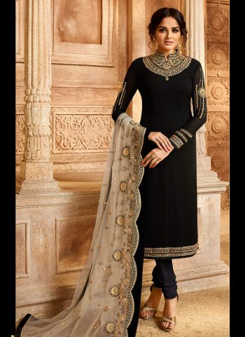 Black and Grey Embroidered Lehenga/ Straight Suit