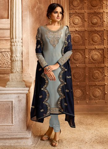 Grey and Blue Embroidered Lehenga/ Straight Suit