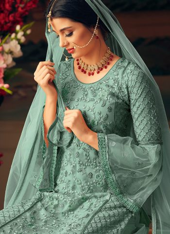 Se Green Embroidered Palazzo Suit
