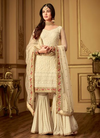 Offwhite Floral Embroidered Anarkali