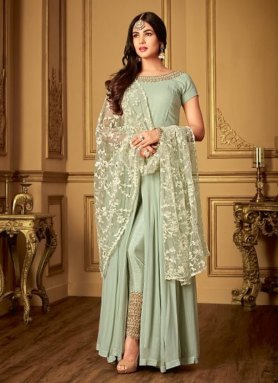 Grayesh Green Embroidered Pant Style Anarkali