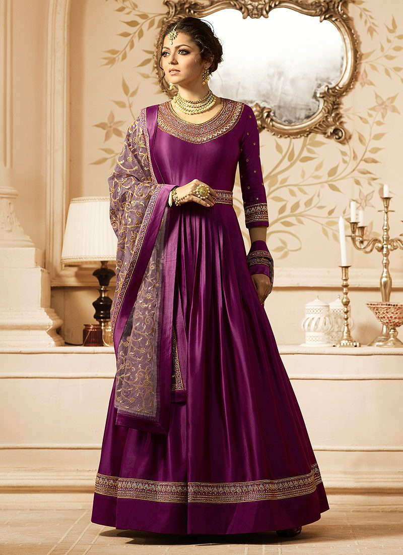 Magenta and Gold Embroidered Anarkali