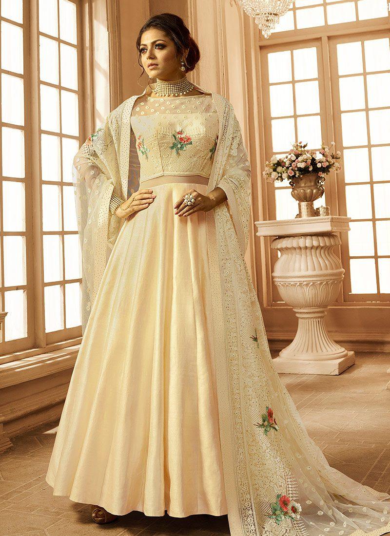 Cream Floral Embroidered Anarkali
