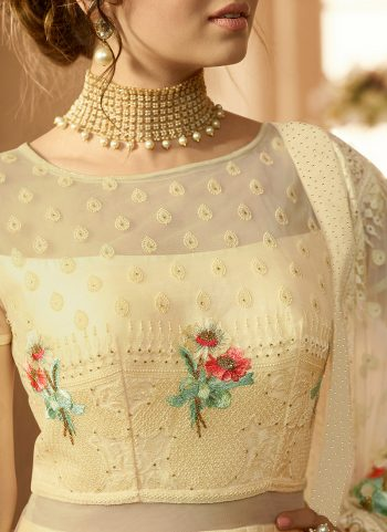Cream Floral Embroidered Anarkali