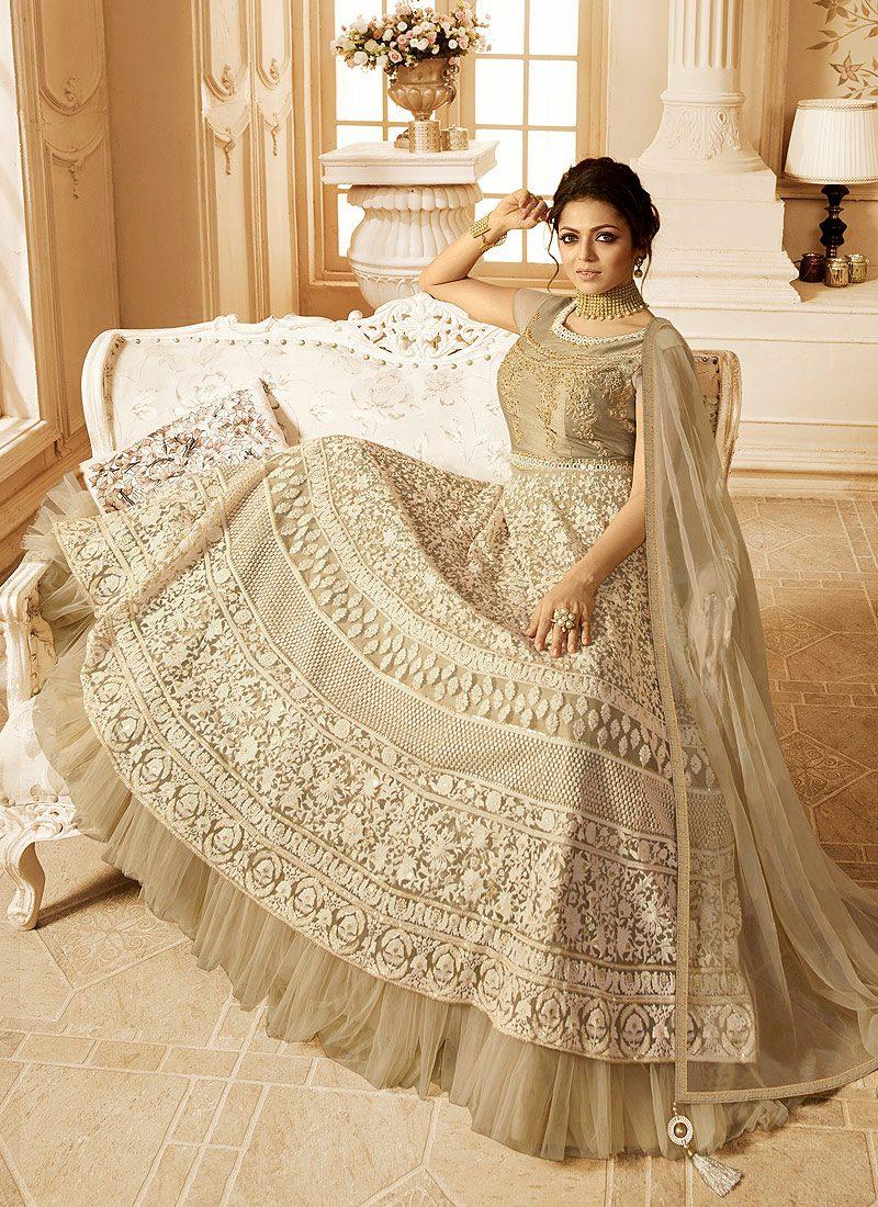 Light Grey Embroidered Anarkali