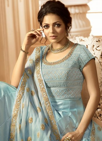 Sky Blue and Gold Embroidered Anarkali
