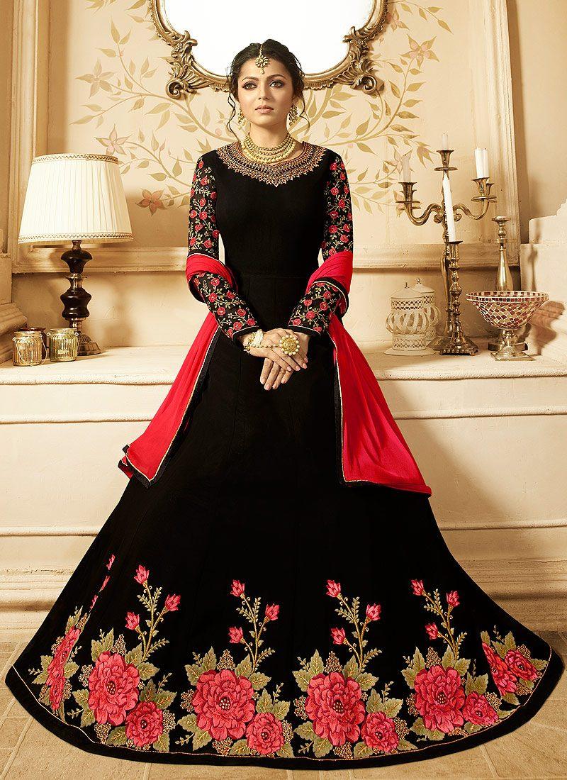 Black Floral Embroidered Anarkali