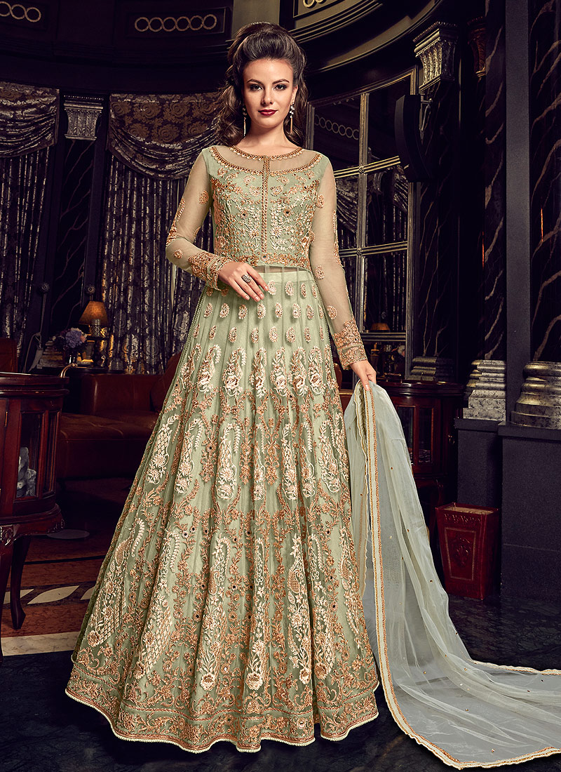Light Green Embroidered Lehenga / Pant Style Anarkali