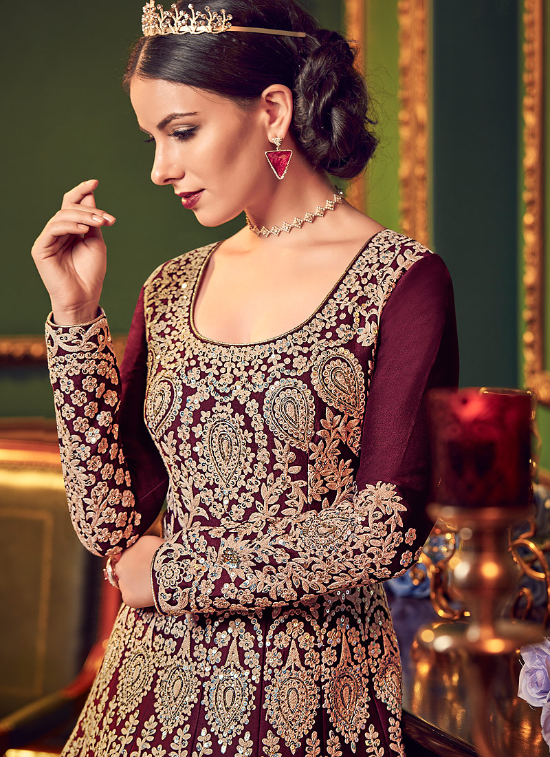 Wine and Gold Embroidered Anarkali