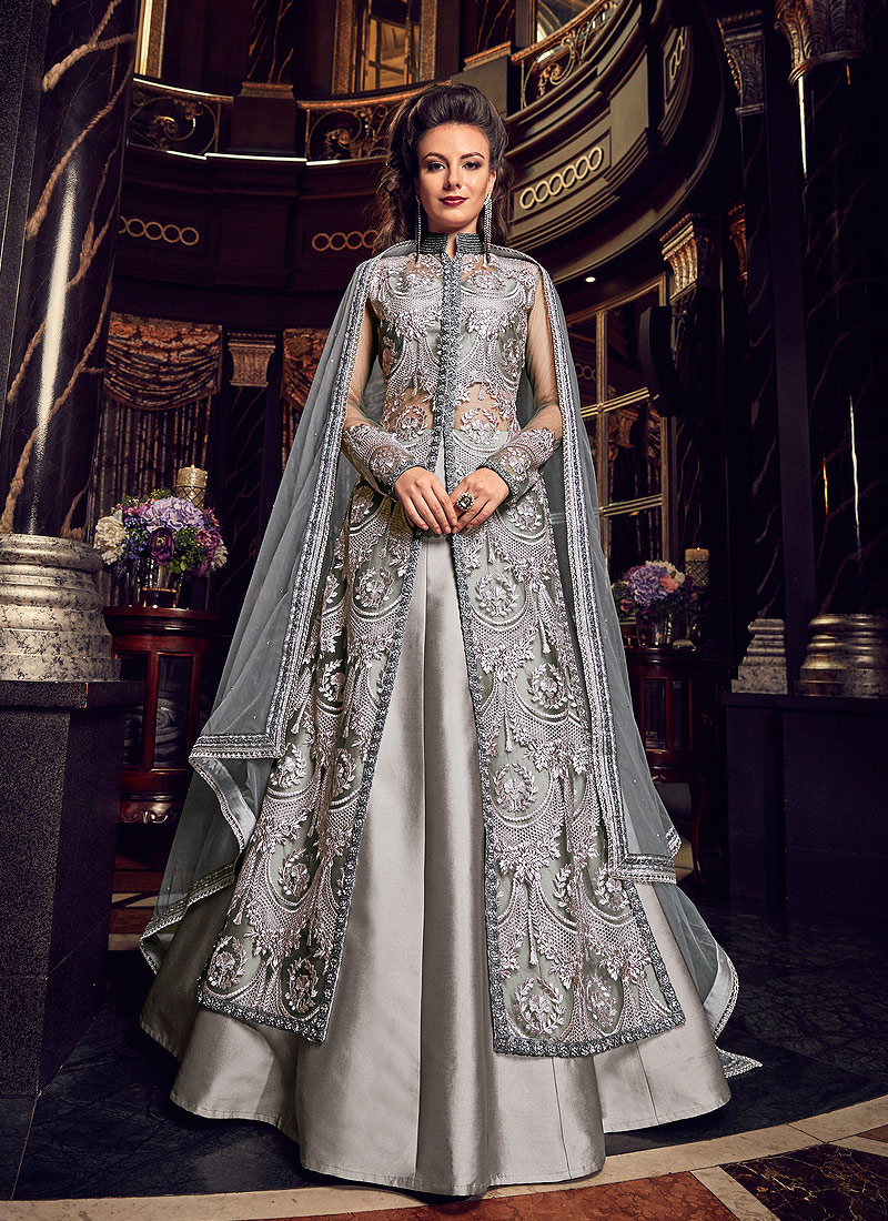 Grey Embroidered Lehenga Anarkali