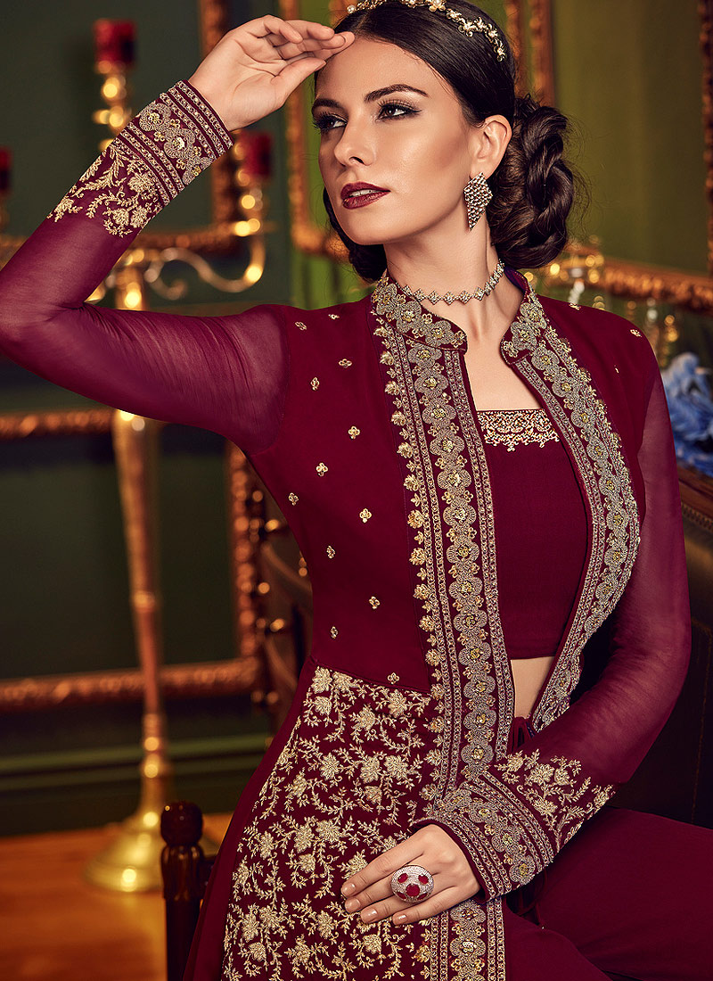 Maroon and Gold Embroidered Jacket Style Suit