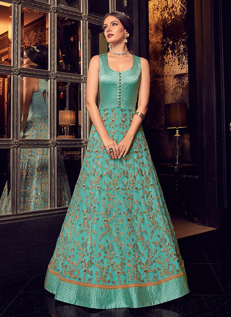 Blue Embroidered Jacket Style  Lehenga / Pant Style Anarkali