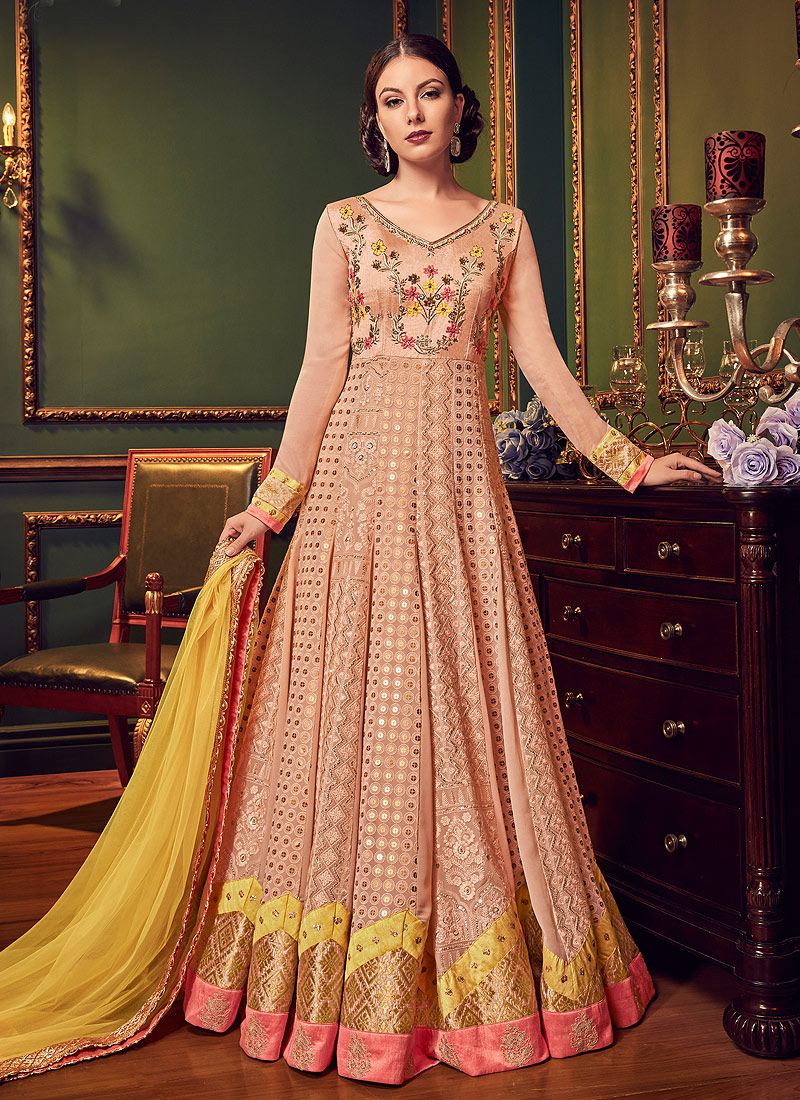 Light Peach Multicolor Embroidered Anarkali