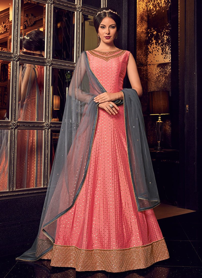 Pink and Grey Embroidered Jacket Style Anarkali