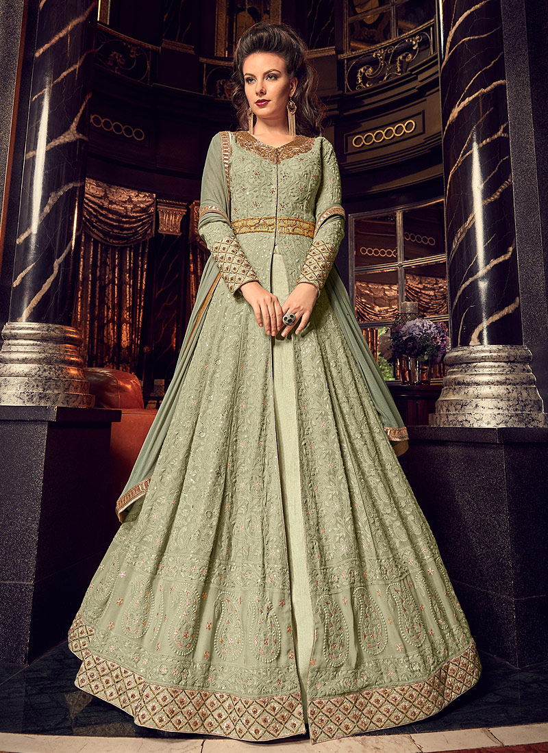 Green and Gold Embroidered Lehenga / Pant Style Anarkali