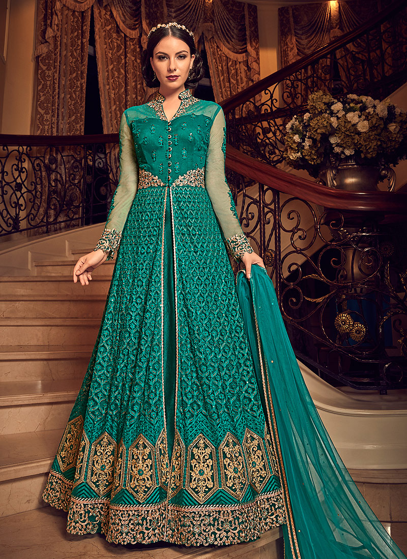 Rama and Gold Embroidered Lehenga / Pant Style Anarkali