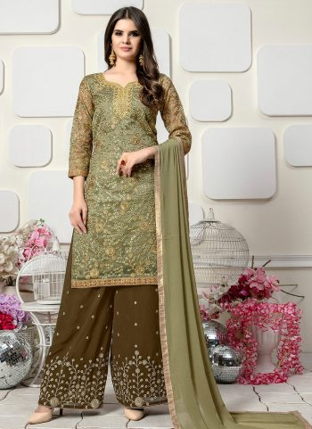 Heena Green Embroidered Palazzo Suit