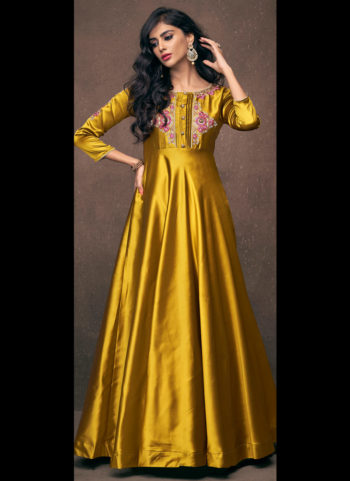 Mustard Embroidered Gown