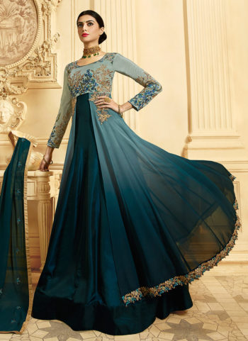 Blue Shded and Gold Embroidered Anarkali