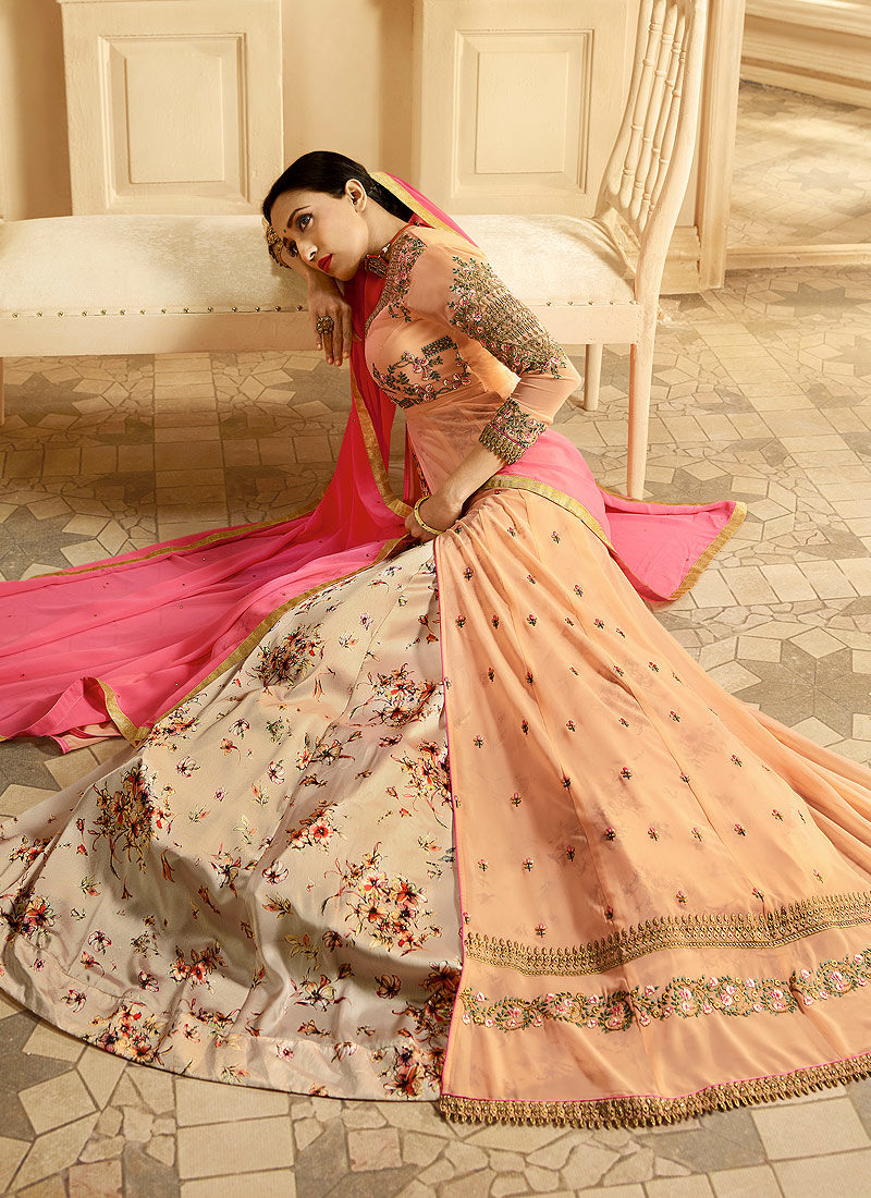 Light Peach and Gold Embroidered Anarkali