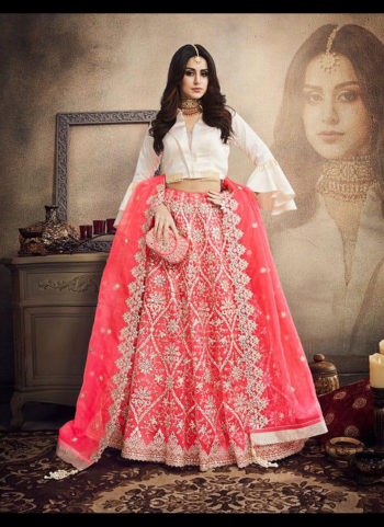 Pink and White Heavy Embroidered Lehenga