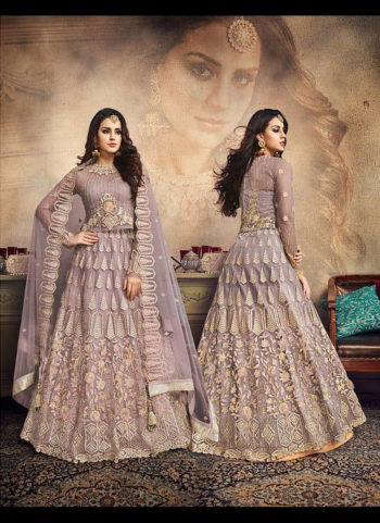 Blue Grey Heavy Embroidered Lehenga
