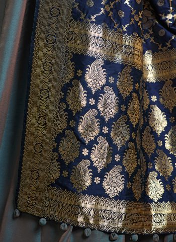 Blue Grey and Gold Embroidered Anarkali