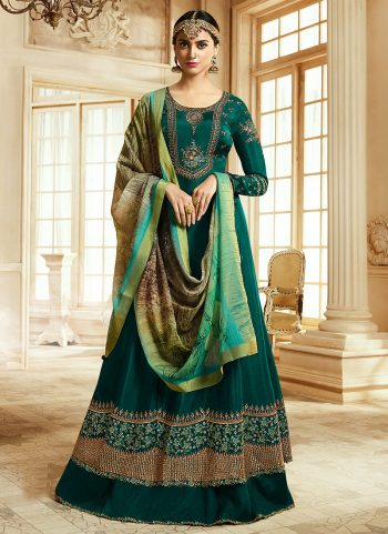 Teal and Gold Embroidered Anarkali
