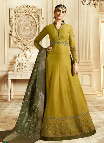 Mustard and Gold Embroidered Anarkali