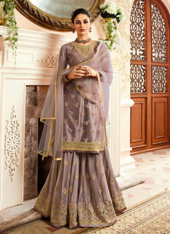 Light Lavender Embroidered Gharara Suit