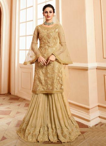 Golden Beige Embroidered Gharara Suit