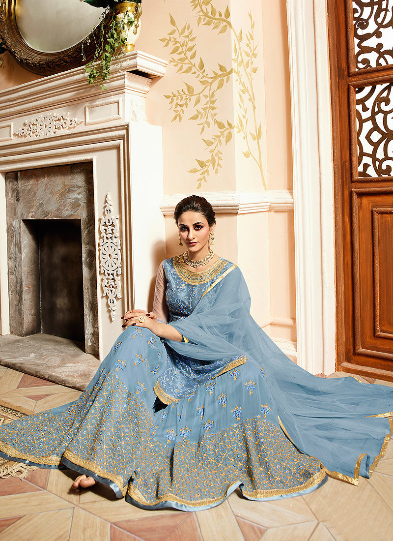 Powder Blue Embroidered Gharara Suit