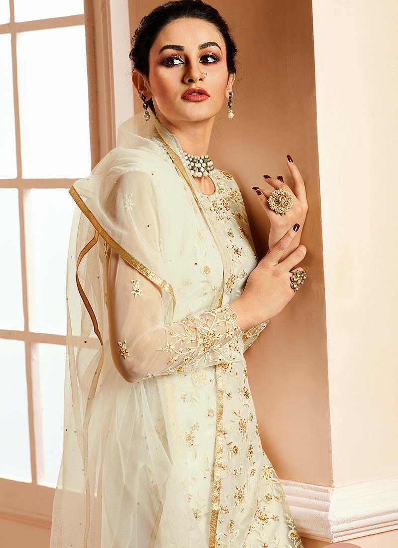 White Embroidered Gharara Suit