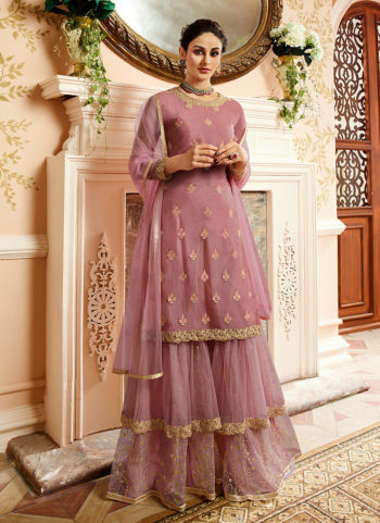 Muave Embroidered Gharara Suit