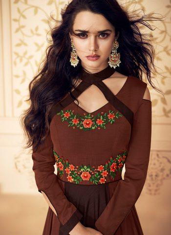 Brown Floral Embroidered Anarkali