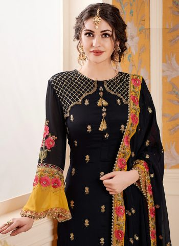 Black and Yellow Embroidered Palazzo Suit