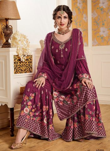 Pink Floral Embroidered Palazzo Suit