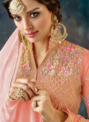 Rose Pink Floral Embroidered Anarkali