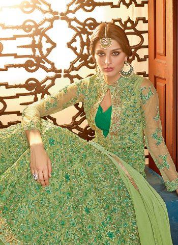 Olive Green Embroidered Anarkali