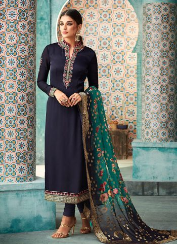 Navy Blue and Gold Embroidered Straight Suit
