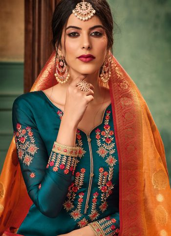 Teal nd Gold Embroidered Gharara Suit