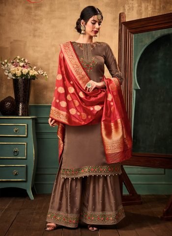 Brown Floral Embroidered Gharara Suit